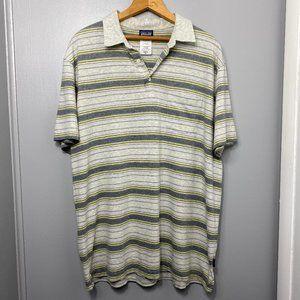 Patagonia Gray and Green Striped Polo Shirt
